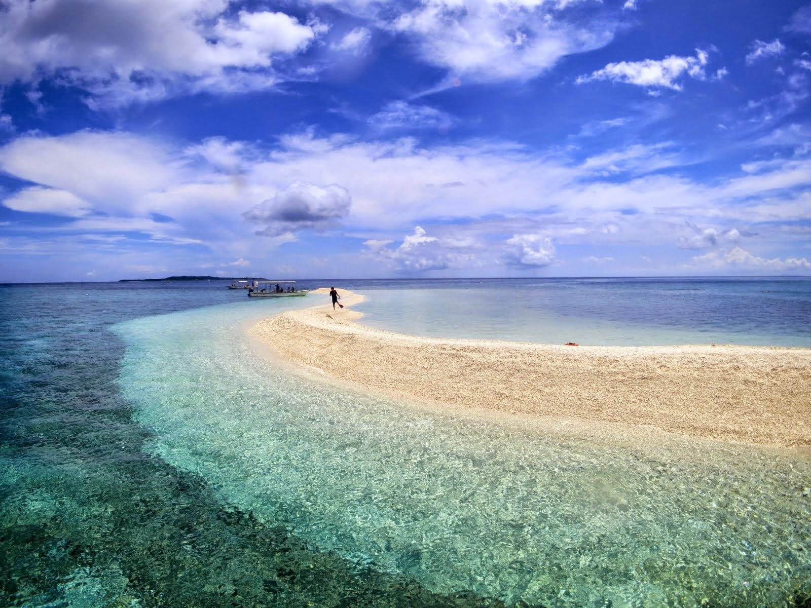西表島付近のサンゴ礁でできた美しいバラス島と透明な海
