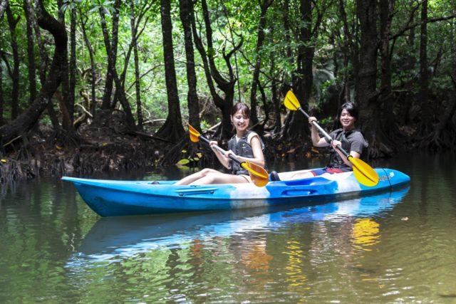 マングローブ林でカヌーを楽しむカップル
