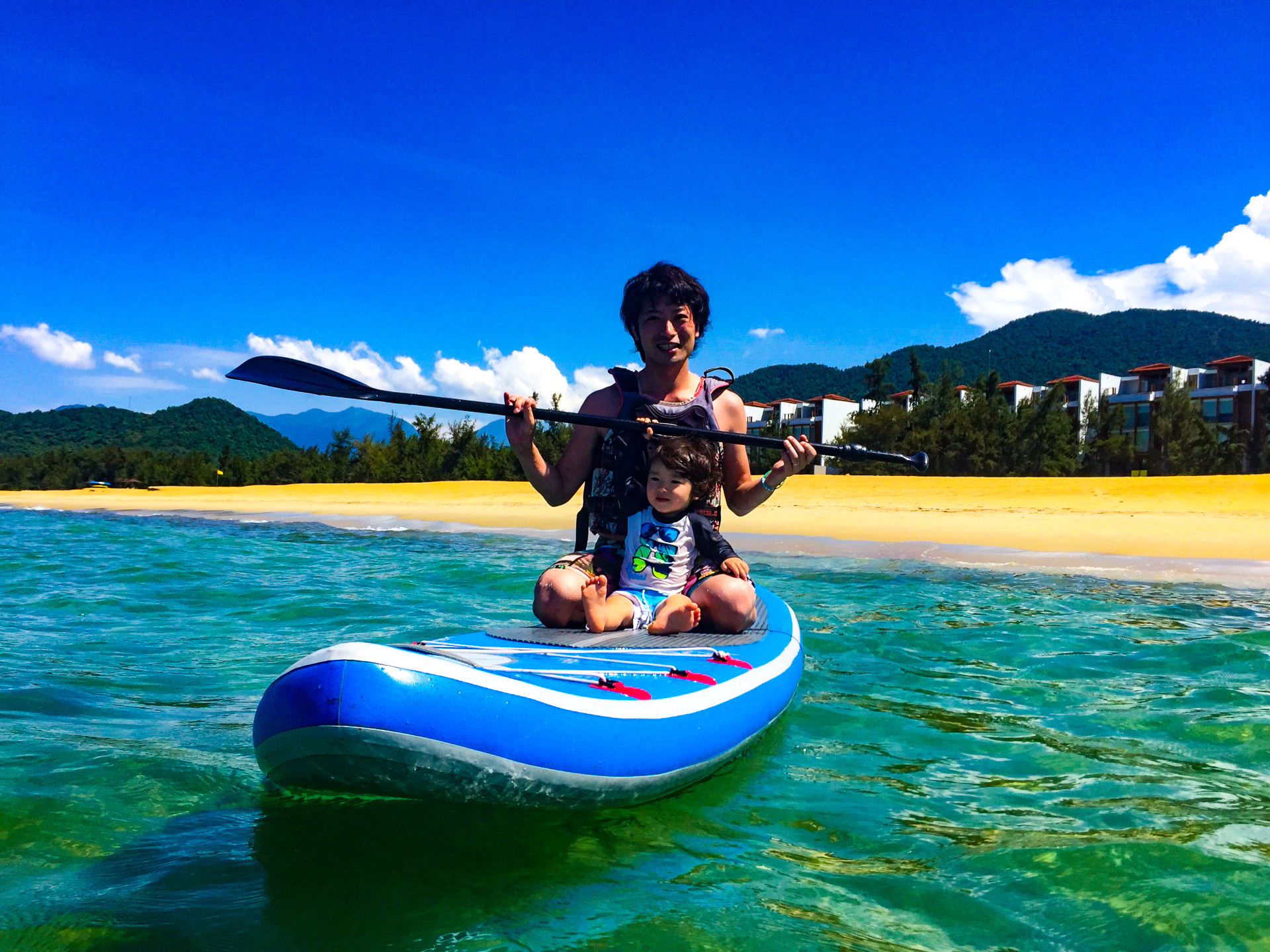 西表島で親子でSUPを体験