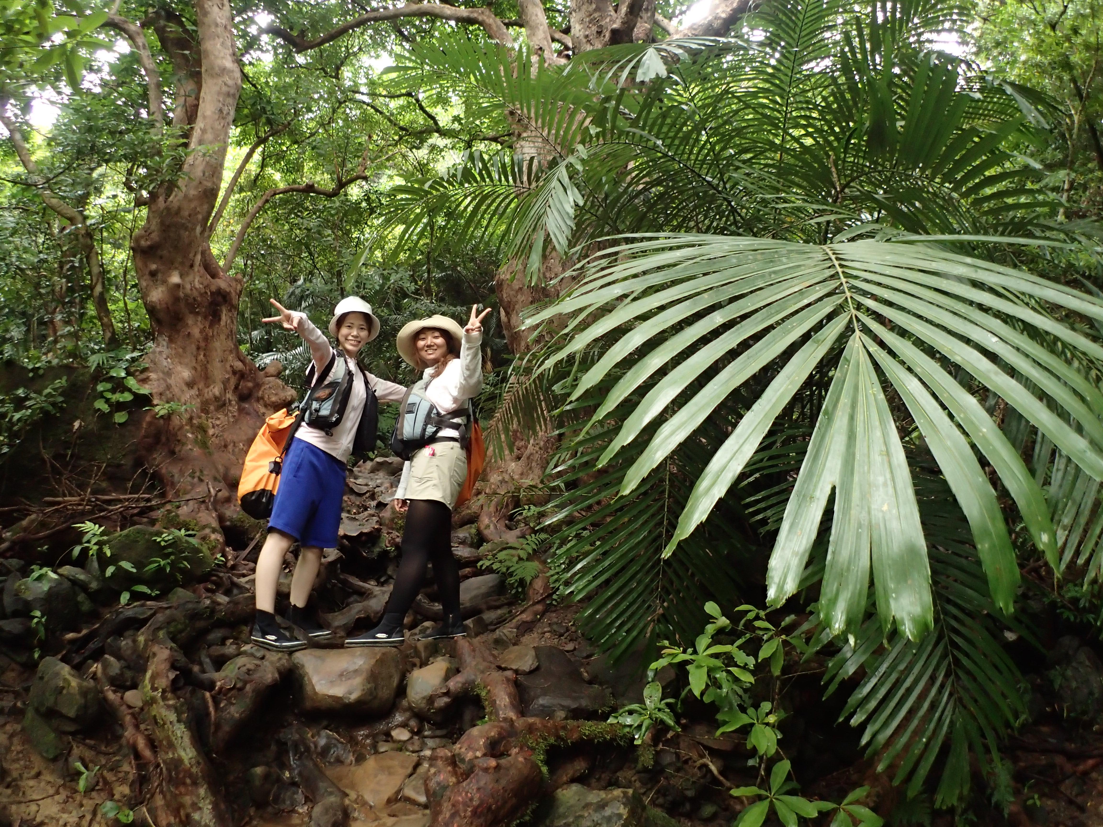 西表島ジャングルのおすすめスポットで記念撮影